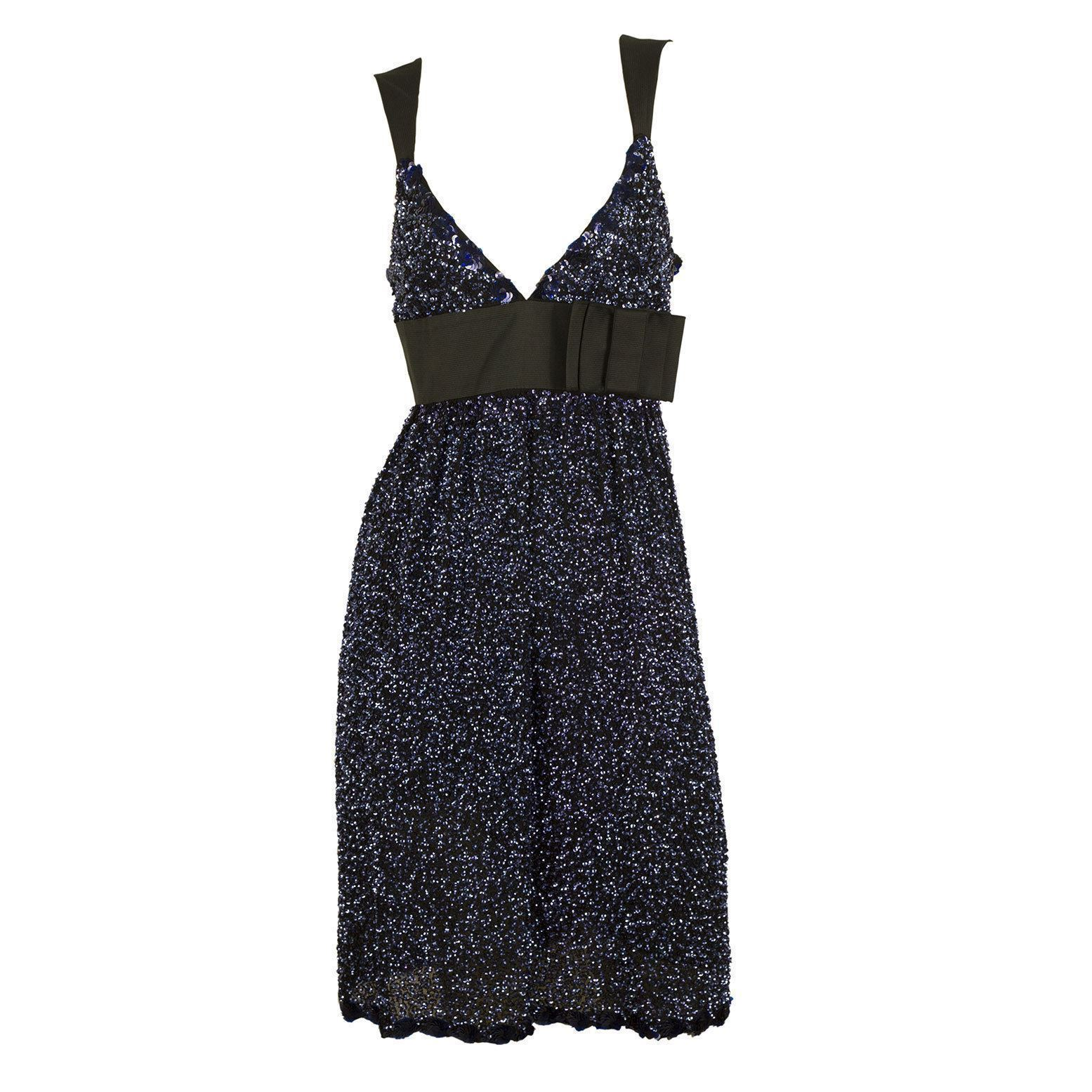 Duyan Midnight Blue Black Fully Sequined Knee Length Bow Dress size 42 It image 3