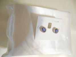 "Charter Club 1/2"" Gold Tone Purple Pave Stone Stud Earrings B716 - $14.39"