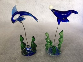 Estate~Tiny PAIR of ART GLASS DOLPHIN & SHARK on wire with sea grass~COB... - $7.95