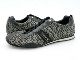 Coach Womens 8 M Kelsie Gray Black Monogram Leather Textile Athletic Shoes - $36.99