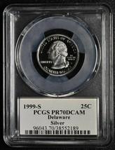 1999S 25¢ Delaware SILVER State Quarter Proof PCGS PR70DCAM Coin SKU C91 image 1