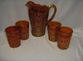5 Pc Vintage Imperial Daisy & Button Marigold Carnival Glass Pitcher & 4... - $272.25