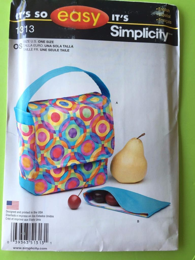 # Simplicity Sewing Pattern 1313 Craft Lunch Bag Snack Pack One Size New