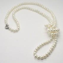 Collier Long 1 Mètre en or Blanc 18K Perles Blanches Eau Douce Fabriqué ... - $465.85