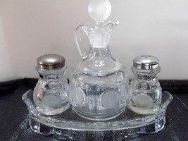 Fostoria Clear Coin Glass 4 Piece Condiment Set - Beautiful Vintage Condition! - $86.89