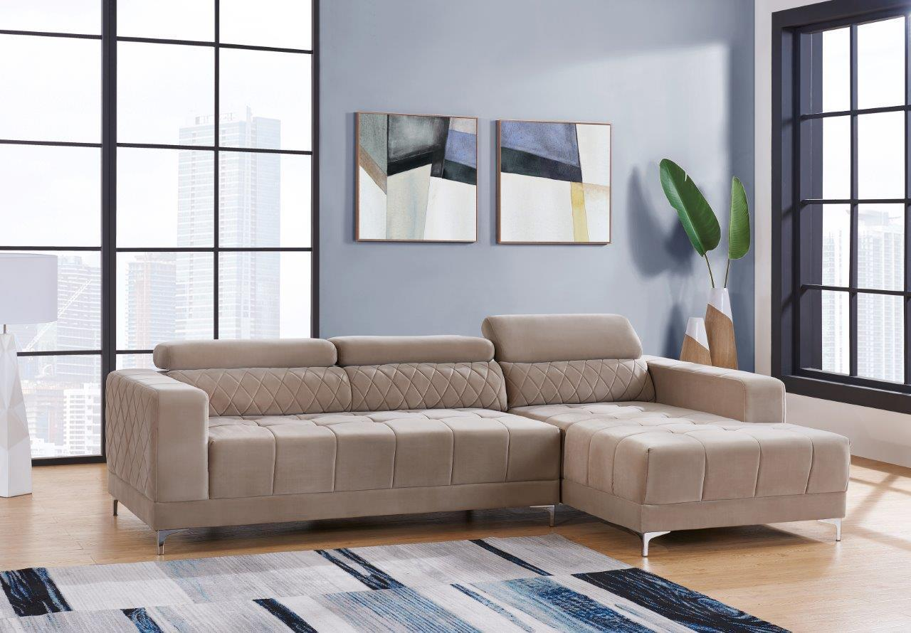 Global Furniture U0037 Hyde Oat Beige Velvet Sectional Sofa Contemporary