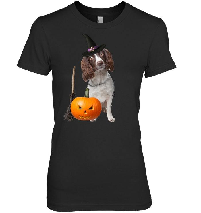 English Springer Spaniel Witch Hat Halloween Dog Tshirt