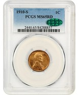 1910-S 1c PCGS/CAC MS65 RD - Tough S-Mint Gem - Lincoln Cent - Tough S-M... - $737.20