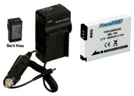 Battery + Charger for Samsung 4302-001221 4302001221 HMX-U10SN HMXU10SN HMXU100 - $18.43