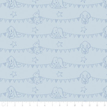 Disney Dumbo Bunting Banners Blue Camelot 100% cotton fabric by the yard - $15.04