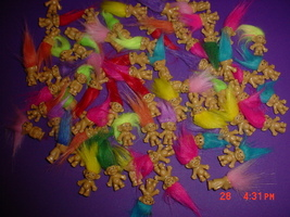 BRAND NEW---LOT OF 10 VINTAGE TINY TROLLS!!!  START A VILLAGE OF TROLLS!!! - $13.99