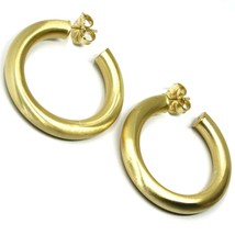 925 STERLING SILVER CIRCLE HOOPS BIG YELLOW EARRINGS, 4 cm x 6 mm SATIN FINISH image 1