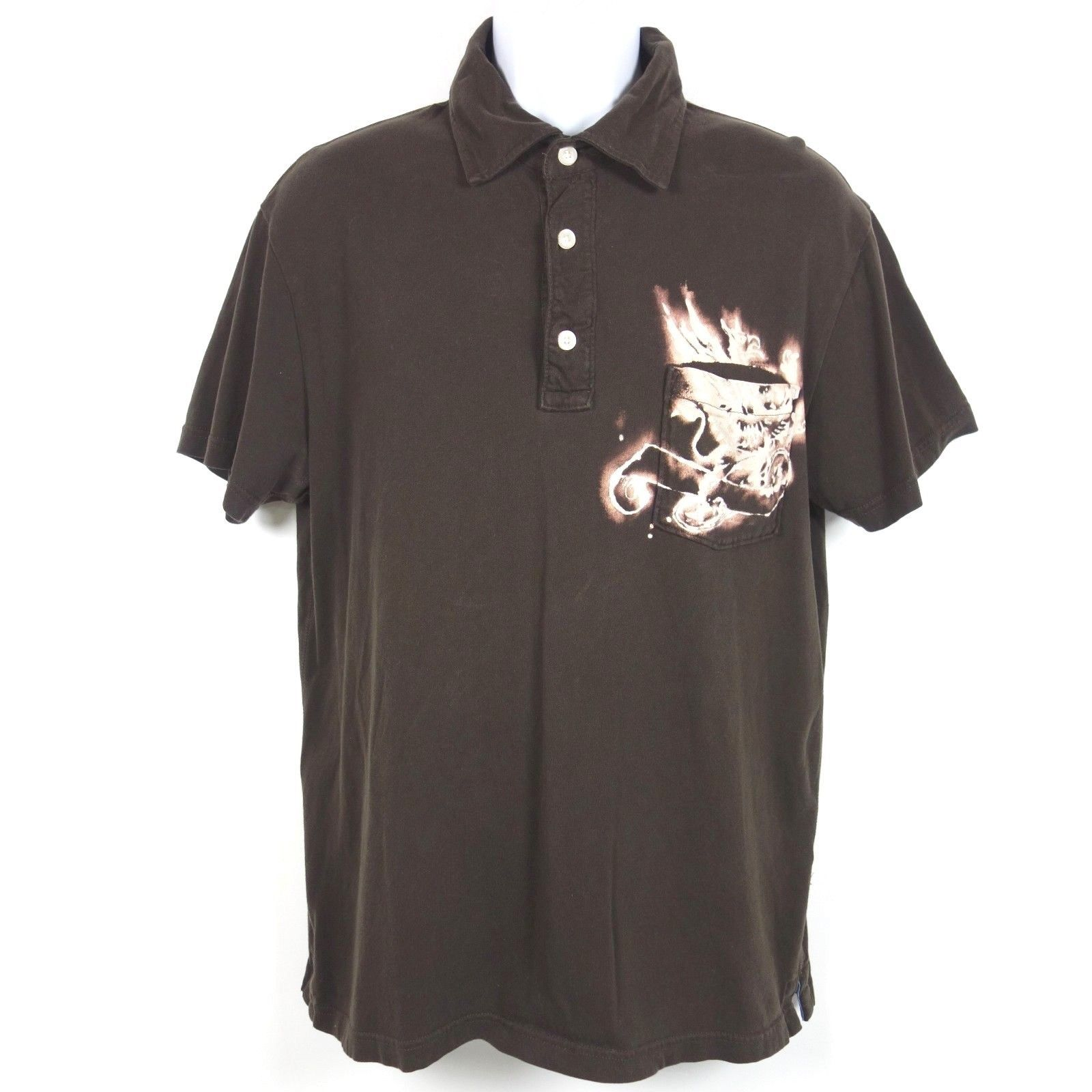 Gap Pocket Polo Shirt Men's Large Brown Cotton Bleached Design Established 1969