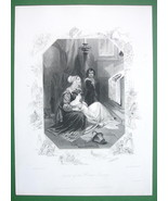 ENGLAND Legend of Brown Rosary Ladies Prayer - SUPERB Antique Print - $12.15