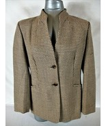 TALBOTS womens Sz 12 L/S gold brown CHECKED button down 100% WOOL jacket... - $59.88