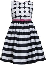Bonnie Jean Little Girl 2T-6X Black White Dot And Stripe Belted Shantung Dress