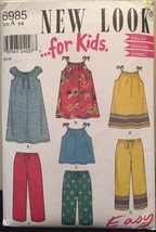 Simplicity New Look Pattern 6985 Childs' Dress, Pants, Pinafore, Top in Size 3-8 - $5.94