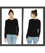 Juicy Couture Black Crew Neck Cashmere Ribbed Trim Sweater - Size Large - $99.95