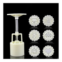 Round Shape Moon Cake Pastry Mold Hand Pressure 50g One Barrel 6 Flower ... - $12.82