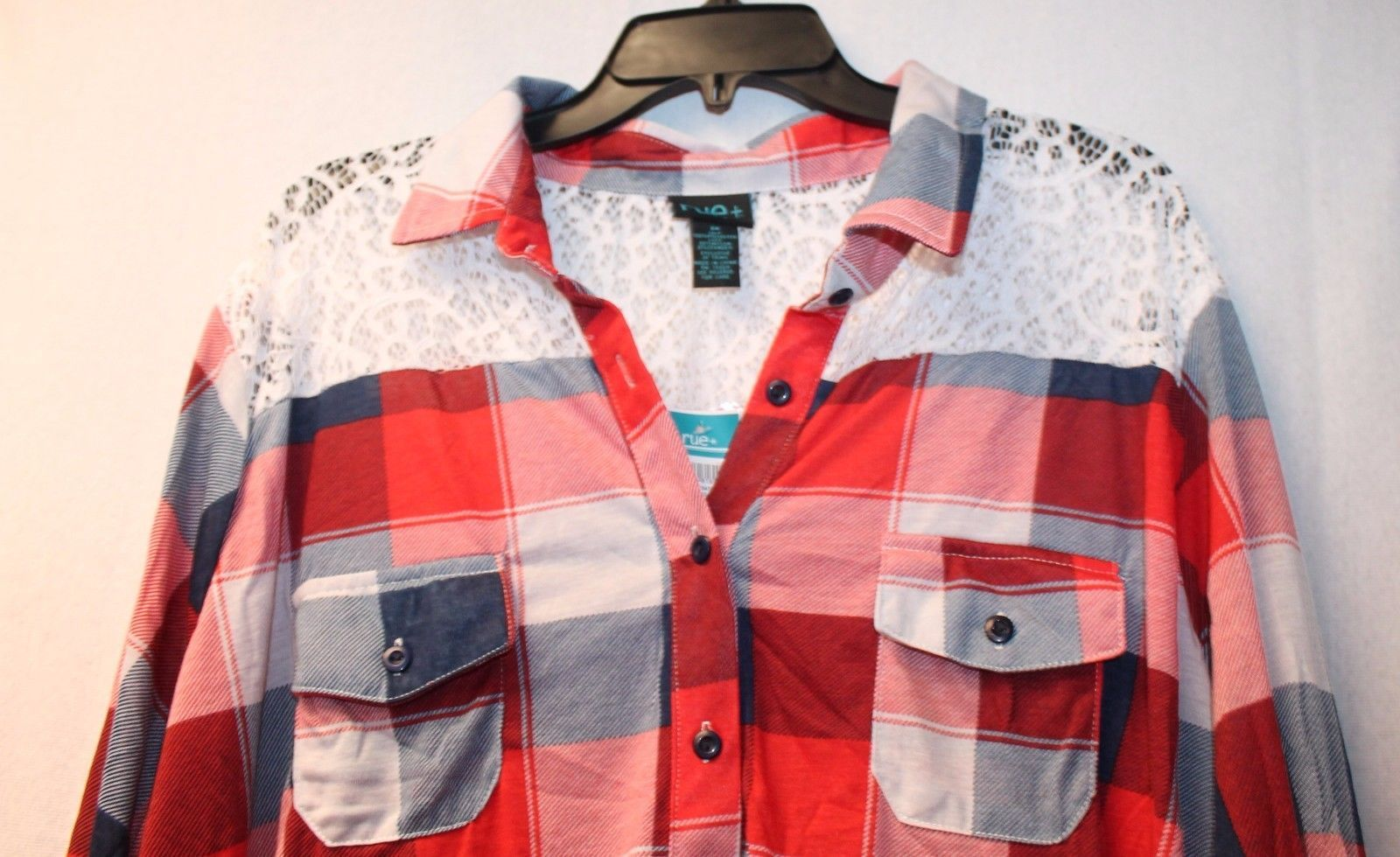 a4a2238cda5 NEW WOMENS PLUS SIZE 3X RED BUFFALO PLAID BUTTON UP SHIRT W COOL UPPER LACE  BACK