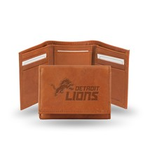 Detroit Lions Wallet Embossed Trifold Official NFL RICO Leather Brown - $26.99