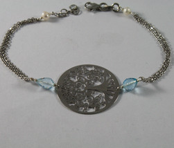 .925 RHODIUM SILVER BRACELET WITH DROP BLUE TOPAZ, FW PEARLS AND TREE OF LIFE image 1