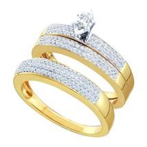 10k Yellow Gold His & Her Marquise Diamond Matching Bridal Wedding Ring Set - $764.92