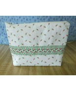 Makeup bag medicine pill bag for Purse, White with baby roses green trim  - $5.20
