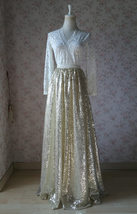Gold Sequin Maxi Skirt Women Plus Size Sequin Maxi Skirt Sparkly Skirt image 7