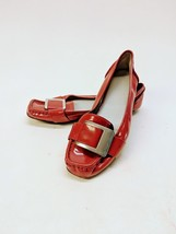 Calvin Klein Monet Red Patent Leather Buckled Ballet Flats Size 8M - $32.07