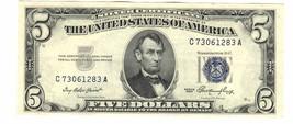 1953 SILVER CERTIFICATE $5 DOLLAR BLUE SEAL C73061283A - $34.65