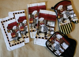 BARISTA CHEF KITCHEN SET 7pc Towels Mitt Potholders Cloths Fat Cook Coff... - $14.99