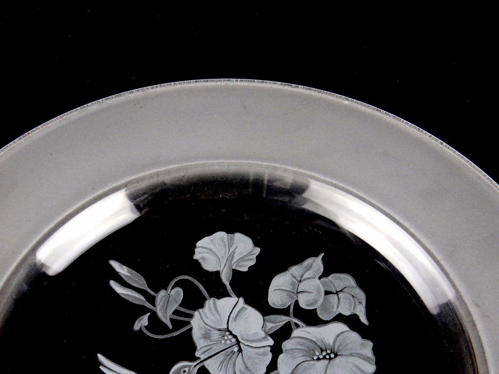 "Avon Crystal Hummingbird 8"" Bread Plate 24% Lead Crystal Made in France"