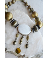 Large beads necklace, Bronze beads necklace, designer handmade necklace, (969) - $32.00