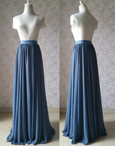 DUSTY BLUE Wedding Bridesmaid Chiffon Skirt Plus Size Dusty-blue Chiffon Skirt