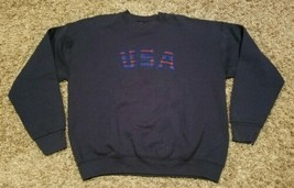 Vintage USA Spellout Crewneck Sweatshirt Blue Men Large United States   - $29.05