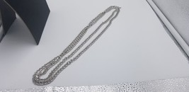 """Vintage Signed Monet Long 27"""" Silver Tone Textured & Smooth Link Chain - $19.32"""