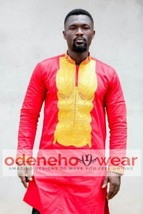 Odeneho Wear Men  Polished Cotton Outfit/Gold Embroidery.African Clothing. - $128.70+