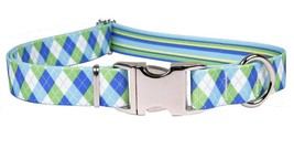 Blue and Green Argyle Metal Buckle Dog Collar Adjustable Durability made... - $13.01+