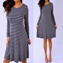 OLD NAVY Black Gray Striped Long Sleeve Flowy Dress XS Extra Small - $18.54