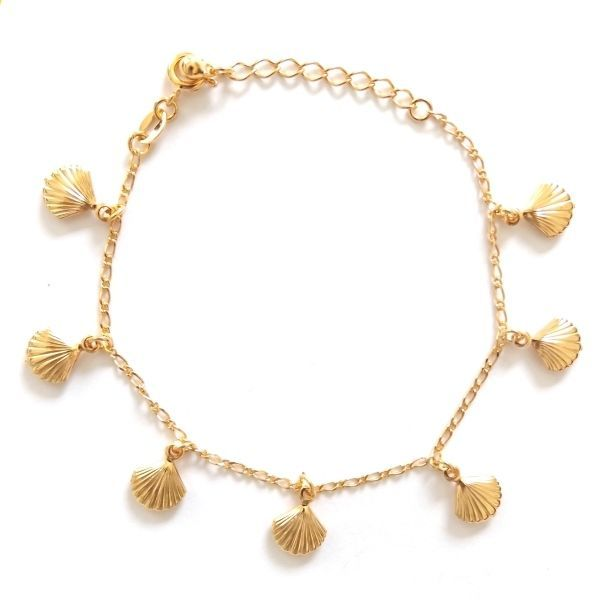 Primary image for GOLD PLATED HIGH QUALITY NICKLE FREE CHARM BRACELET SHELL OYSTER CLAM ADJUSTABLE