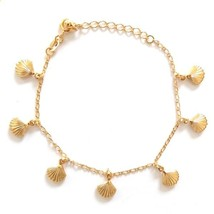 GOLD PLATED HIGH QUALITY NICKLE FREE CHARM BRACELET SHELL OYSTER CLAM AD... - $14.49