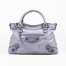 "Balenciaga ""Glycine"" Purple ""Agneau"" Leather ""Giant 12 Rose Gold Town"" Bag - $440.00"