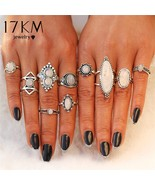 17KM® 10 pcs/set Bohemian Opal Stone Ring Set Women Antique Silver Color... - $5.87