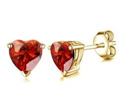 14k Yellow Gold Finish 925 Silver Heart Shape Red Garnet Women's Stud Earrings - $35.20