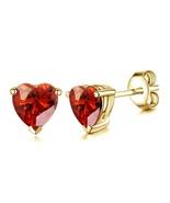 14k Yellow Gold Finish 925 Silver Heart Shape Red Garnet Women's Stud Ea... - $35.20