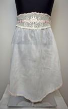 Vintage White Cotton Half Apron - Delicate Pink White Crocheted Trim Rib... - $23.70