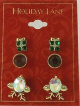 Charter Club Holiday Lane Gold-Tone 3-Pc. Set Reindeer & Present Stud Earrings image 2