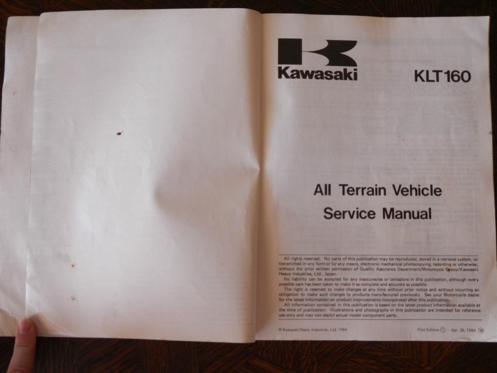 ... 85 KAWASAKI KLT160 KLT 160 SHOP REPAIR SERVICE MANUAL ...
