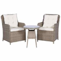 vidaXL 3 Piece Bistro Set w/ Cushions and Pillows Poly Rattan Brown Dinner - $236.99
